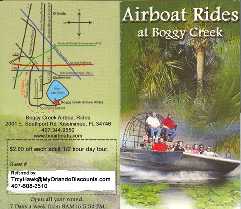 Boggy Creek Airboat orlando coupon