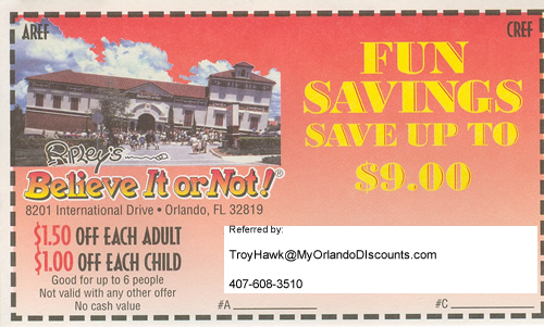 Coupon For Orlando's Ripley's Believe It Or Not