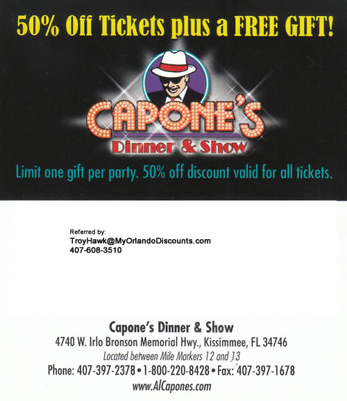 Coupon For Capone's Dinner Show in Orlando
