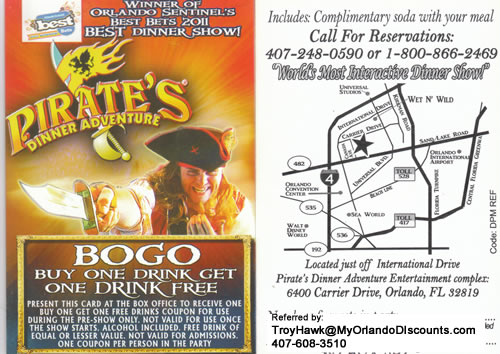 Coupon For Pirate's Dinner Show in Orlando