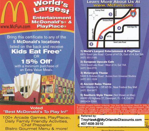 Coupon For McDonalds in Orlando
