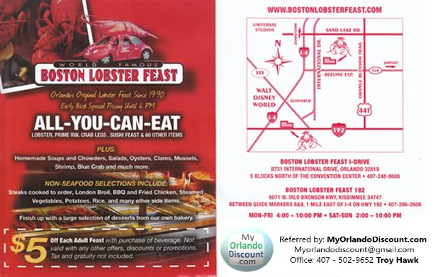 Coupon For Boston Lobster in Orlando