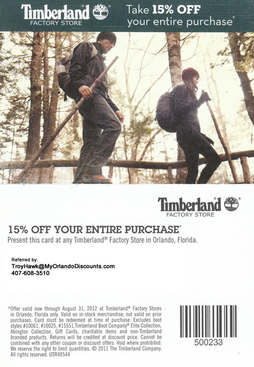 Coupon For the Timberland Outlet in Orlando